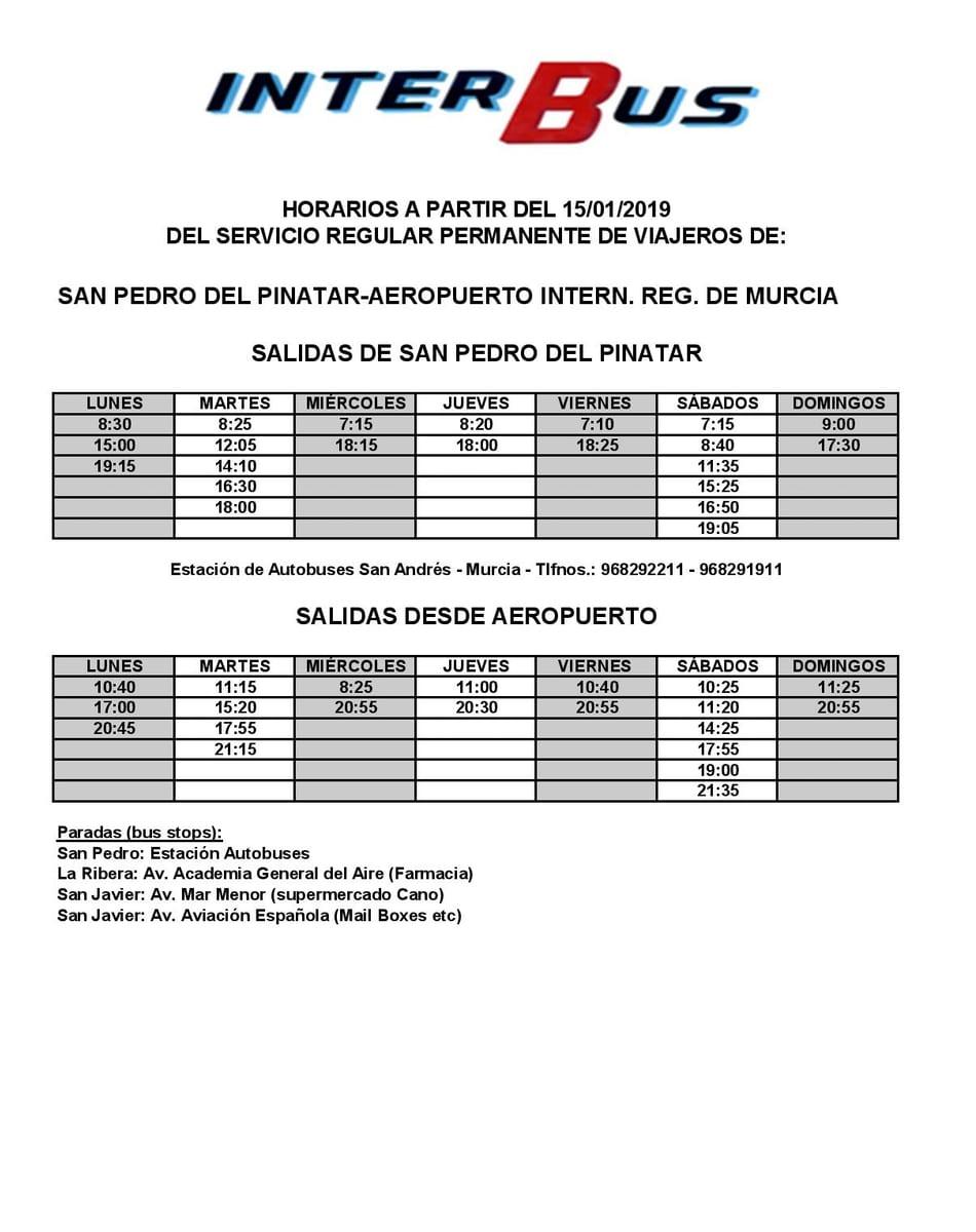 Horarios de autobuses de aeropuerto Internacional de Murcia Corvera
