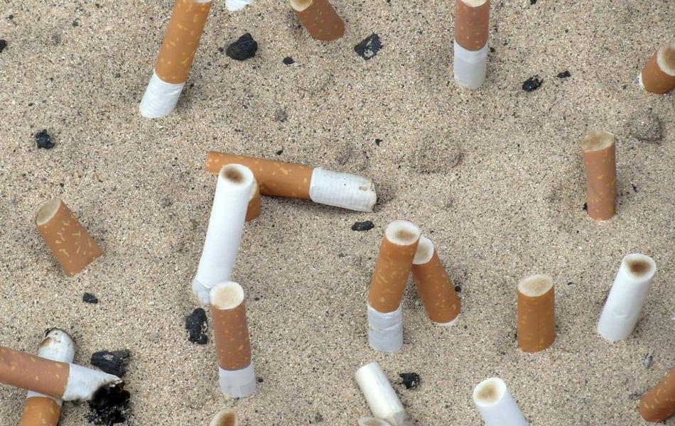 Las colillas de cigarrillo, un terrible contaminante en las playas de Mar Menor