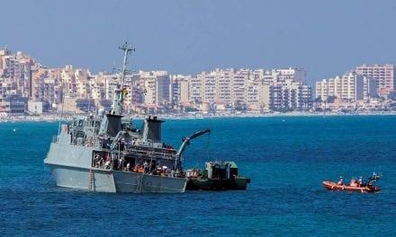 El plan de la Armada para el M-34 Turia,  que encalló frente a la playa del Banco de Tabal en La Manga del Mar Menor