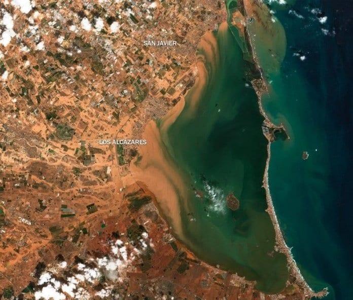 El catástrofe de Mar Menor a vista de satelite