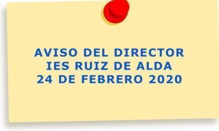 IES Ruiz de Alda en San Javier avisa que los profesores y alumnos participantes en el viaje a Italia no deben acudir al centro hasta nueva orden