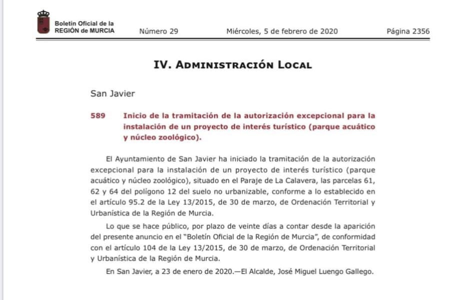 José Miguel Luengo sobre el Proyecto Parque Acuático de San Javier