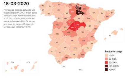 Mapa de riesgo de propagación de coronavirus COVID-19 por contagio comunitario en España