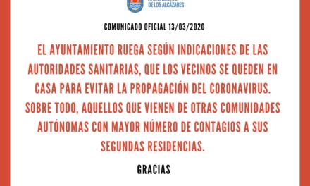 Comunicado del Ayuntamiento de los Alcázares a sus vecinos