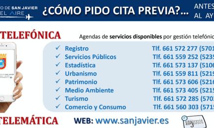 El Ayuntamiento de San Javier recupera la atención presencial a partir del lunes 1 de junio 2020