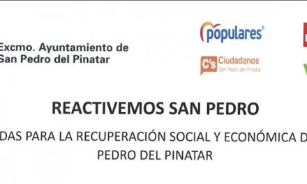 """Todos los grupos políticos del ayuntamiento de San Pedro del Pinatar suscriben el plan """"Reactivemos San Pedro"""""""