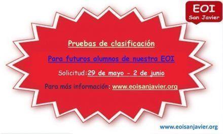 Pruebas de clasificación para futuros alumnos  en La Escuela Oficial de Idiomas de San Javier
