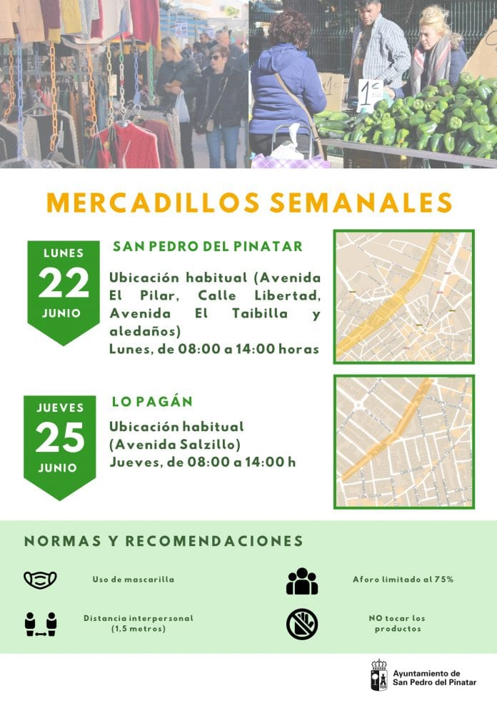 Los mercadillos semanales de San Pedro del Pinatar y Lo Pagán retoman sus ubicaciones habituales