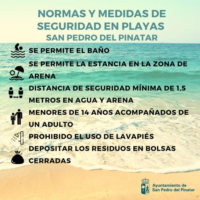 Normas y medidas de seguridad en las playas de San Pedro del Pinatar 2020