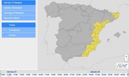 La alerta amarilla se extiende a toda la Región de Murcia tras una madrugada con fuertes lluvias