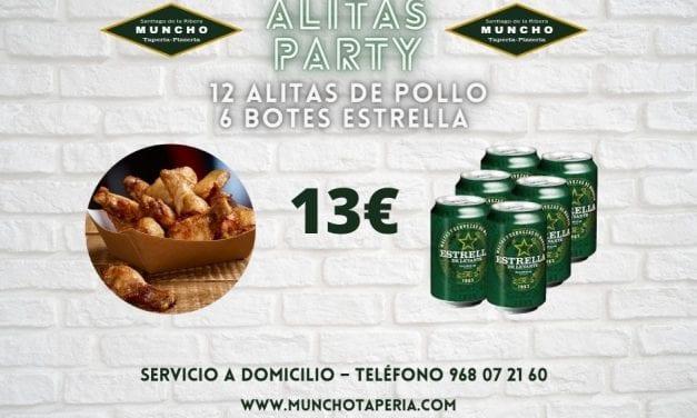 Oferta de la semana en Munchotaperia.com: 12 alitas de pollo y 6 botes de Estrella de Levante a 13 euros
