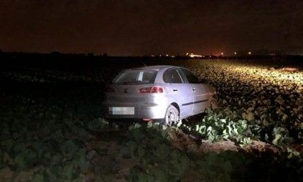 Un conductor conduce a más de 130 km/h por caminos rurales huyendo de la Policía Local en San Javier