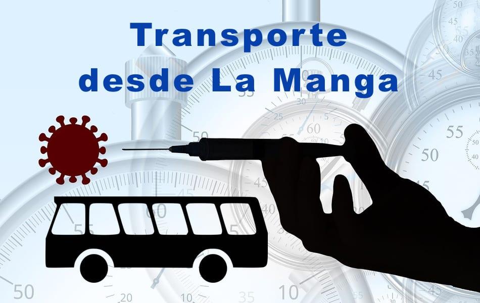 Transporte desde La Manga para vacunación masiva Covid-19 en Cabezo Beaza 21 de abril 2021